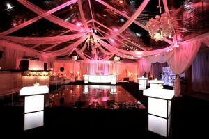 Vinyl Dance Floor, Draping, Lighted Tables